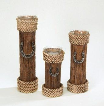 Candle Stick Country Western Decor Pillar Votive Holders Set Westernbrides
