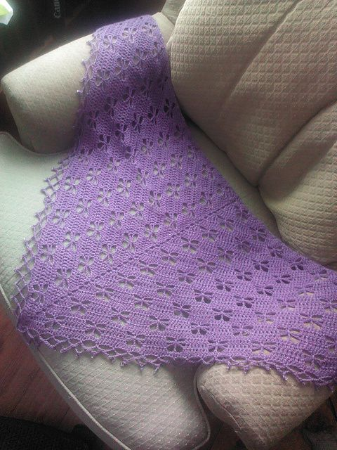 Butterfly Stitch Prayer Shawl. Top 10 FREE crochet shawls patterns by The Lavender Chair.