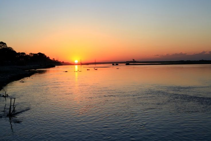 Sunset over the Brahmaputra River on the outskirts of Dibrugarh city