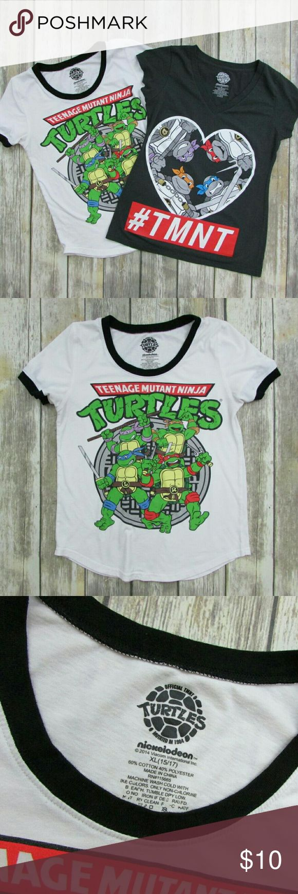 "Lot of 2 Nickelodeon Ninja Turtles Graphic T-Shirt Nickelodeon Teenage Mutant Ninja Turtles T-shirts features short sleeve, front graphic, and tag-free comfort.  Pre-owned in very good used condition.  White Tee: Bust 36"" / Waist 34"" / Length 25""  Gray Tee: Bust 34"" / Waist 32"" / Length 26""  • Size: XL (Juniors) • Color: White, Gray • Material: Cotton, Polyester • Lot Includes: 2 x T-shirts • Item#: CW095 Nickelodeon Tops Tees - Short Sleeve"