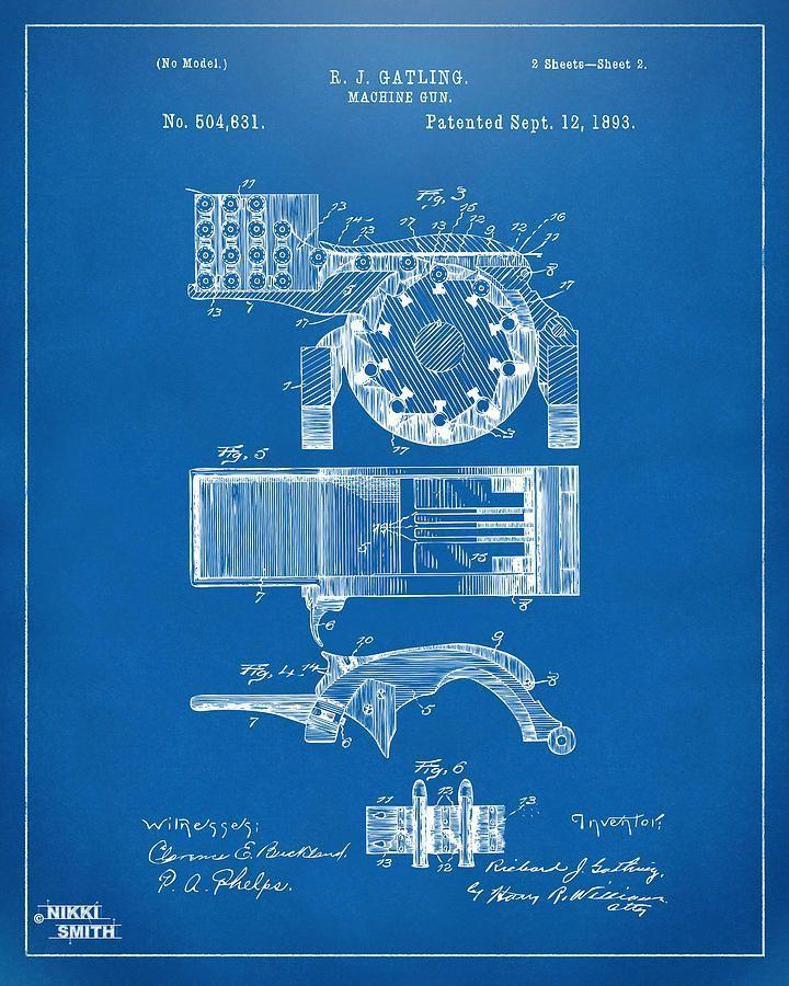 The 25 best blueprint drawing ideas on pinterest science 1893 gatling machine gun feed patent artwork blueprint drawing patentartwork malvernweather Choice Image