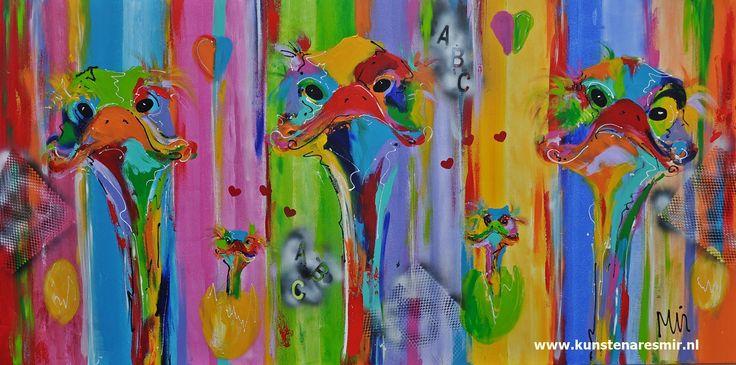 Veelzijdig  kleurrijk kunstenares Mi/ Mirthe Kolkman  schildert o.a struisvogels . kunst art vogels dieren struisvogels grappige struisvogel funny ostriches kleurrijke kunstwerken colourful artworks artist mir eieren eggs #snoeshanen #stuisvogels #kleurrijk #kleur #kunstenaresmir #mirthekolkman