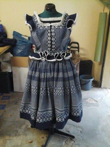 Full gathered skirt, with frilled fitted top - made of shweshwe #MadAboutShweshwe 😜