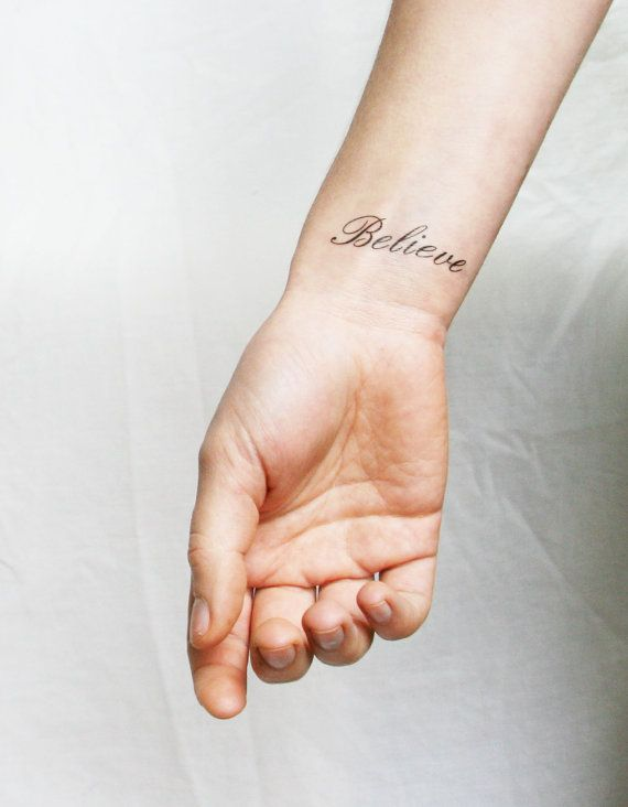 'Believe' inspiring words temporary tattoo by Pepper Ink, a lovely tattoo in a beautiful script to remind and inspire