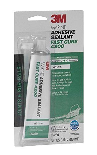 3M Marine Adhesive/Sealant Fast Cure 4200, 05260, White, 3 oz  3M Marine Adhesive Sealant Fast Cure 4200FC bonds and seals fiberglass, gelcoat and wood  Ideal for rub-rails, stern-joints, deck and through-hull fittings, and access plates  Medium strength allows for disassembly  Bonds and seals fiberglass, gelcoat and wood  It is white in color  Ideal for rub-rails, stern-joints, deck and through-hull fittings and access plates  Comes in the color white  The ATG tape system delivers a c...