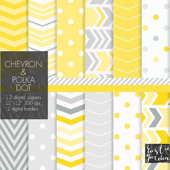 Papier numérique jaune et gris. Polka dot et chevron emballage de cadeaux, décoration de fête, cartes, invitations en gris jaune citron et neutre.
