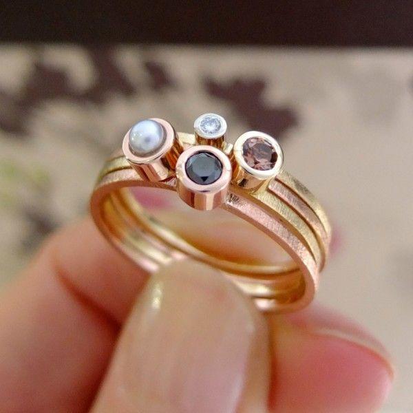 komplet 4 pierścionków czarny diament perła brylant andaluzyt