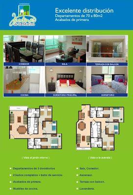 Las 25 mejores ideas sobre planos de departamentos for Casa minimalista 70m2