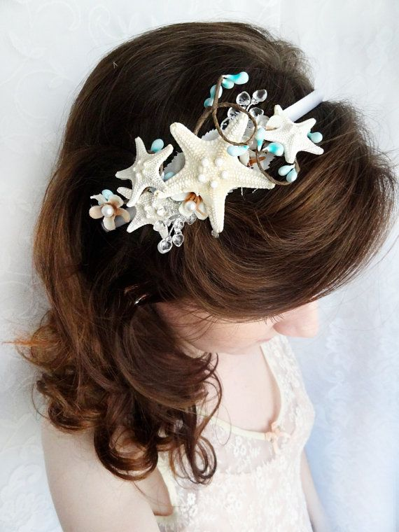 seashell wedding headband starfish headpiece by thehoneycomb, $70.00