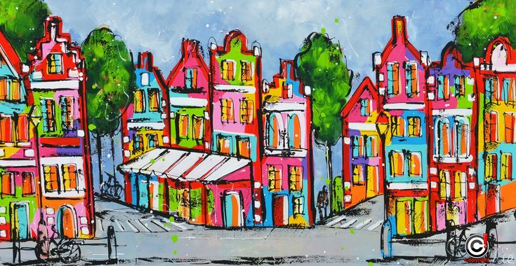 Dit is een: Acrylverf op doek, titel: 'Streetvieuw' kunstwerk vervaardigd door: Liz