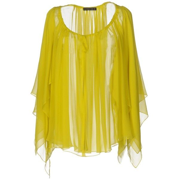 Plein Sud Blouse ($265) ❤ liked on Polyvore featuring tops, blouses, acid green, plein sud, green long sleeve blouse, yellow long sleeve top, long sleeve blouse and green top