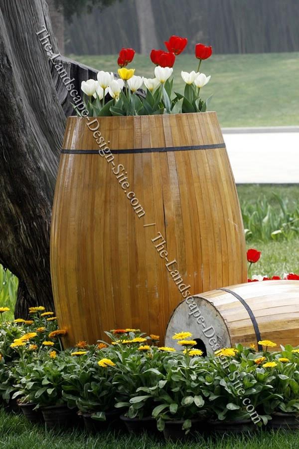 Wood Barrel Container Garden Planter