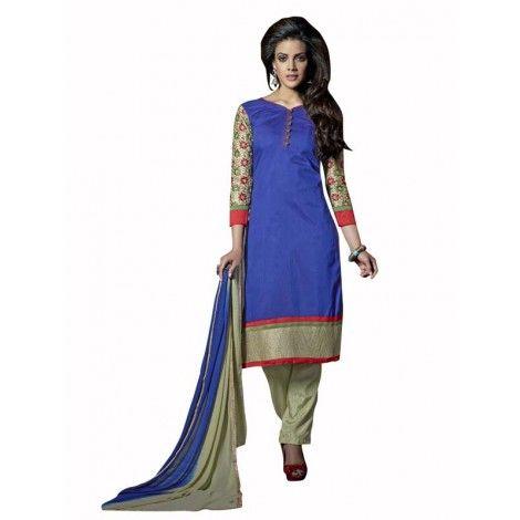 Unstitched #Chanderi #Cotton #Embroidered #Salwar_Kameez