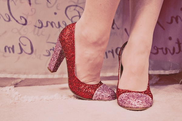 red and pink glitter pumps