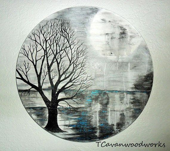 MOON PAINTING Cosmic Art Tree Painting Black White Sparkly Blue