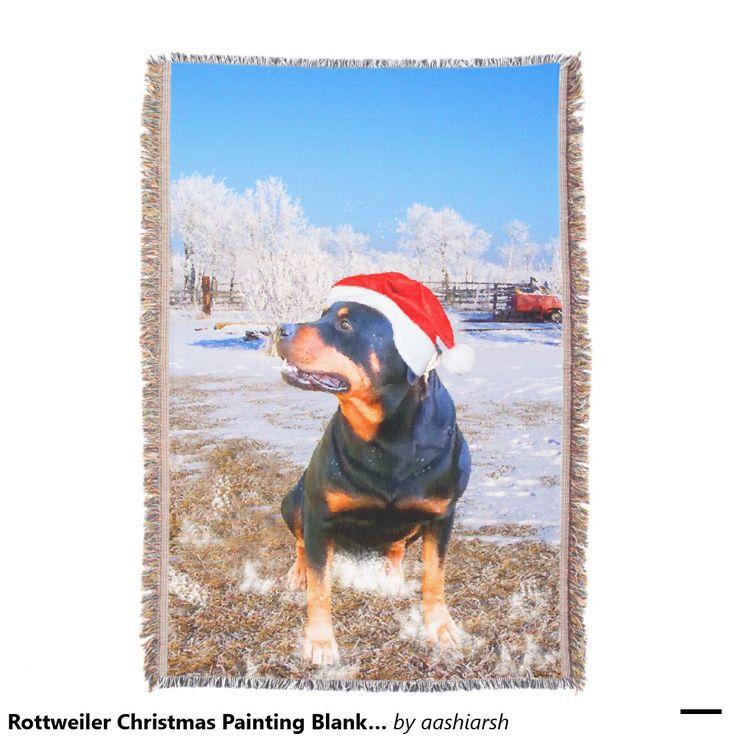 #Rottweiler #Christmas #Painting #Blanket 54 x 38 Throw