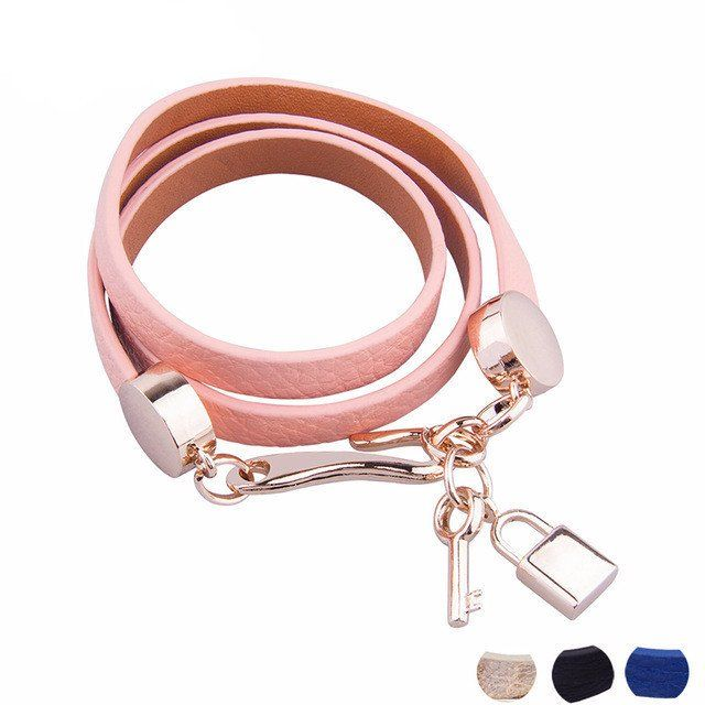 18K Gold Plated Pink Leather Bracelet Three Circle