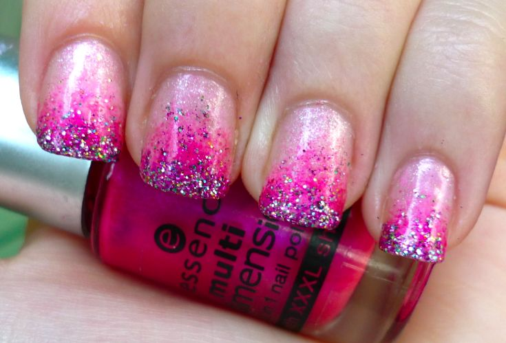 pink gradient nails: Nail Polish, Style, Pink Nails, Nail Designs, Makeup, Glitter Nails, Gradient Nails, Nail Ideas, Nail Art
