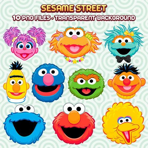 The Content Of The Collection Consists Of Png Files In High Quality And Resolution Ea Sesame Street Birthday Sesame Street Birthday Party Sesame Street Crafts