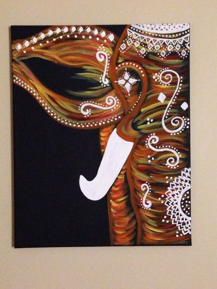 Bohemian elephant canvas painting.
