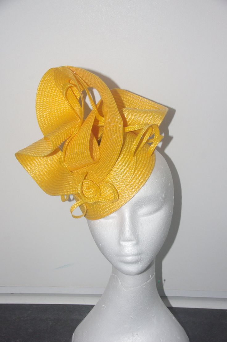 Designer fascinator one of a kind. Yellow buntal twist  hand sewn on black base races, cup fashions on the feild by DesignerFascinators on Etsy