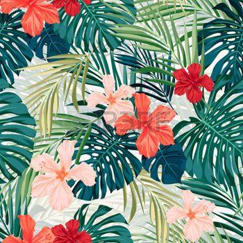 plantes tropicales: Été coloré seamless hawaïen avec des plantes tropicales et des fleurs d'hibiscus, illustration vectorielle