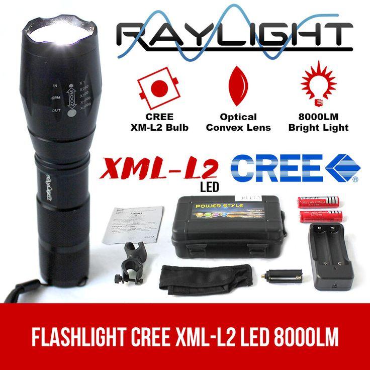 Flashlight CREE XML-L2 LED 8000LM Rechargeable 2x18650 Battery Lamp Waterproof  Elinz