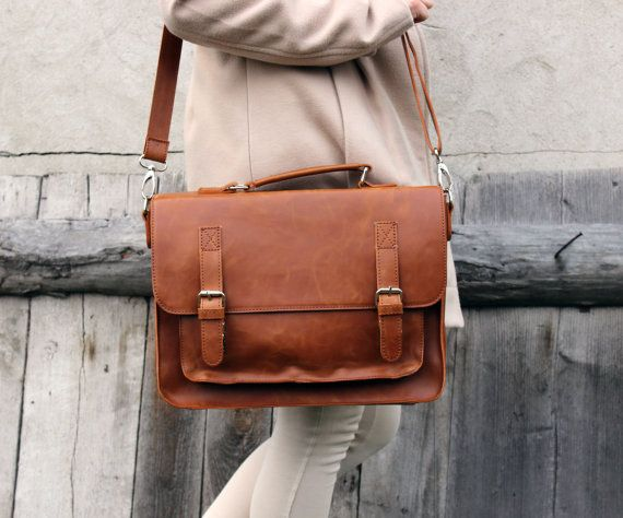 Brown leather messenger bag leather satchel handmade by Lemum