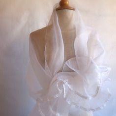 etole blanche mariage organza de soie et volant - Tole Blanche Mariage