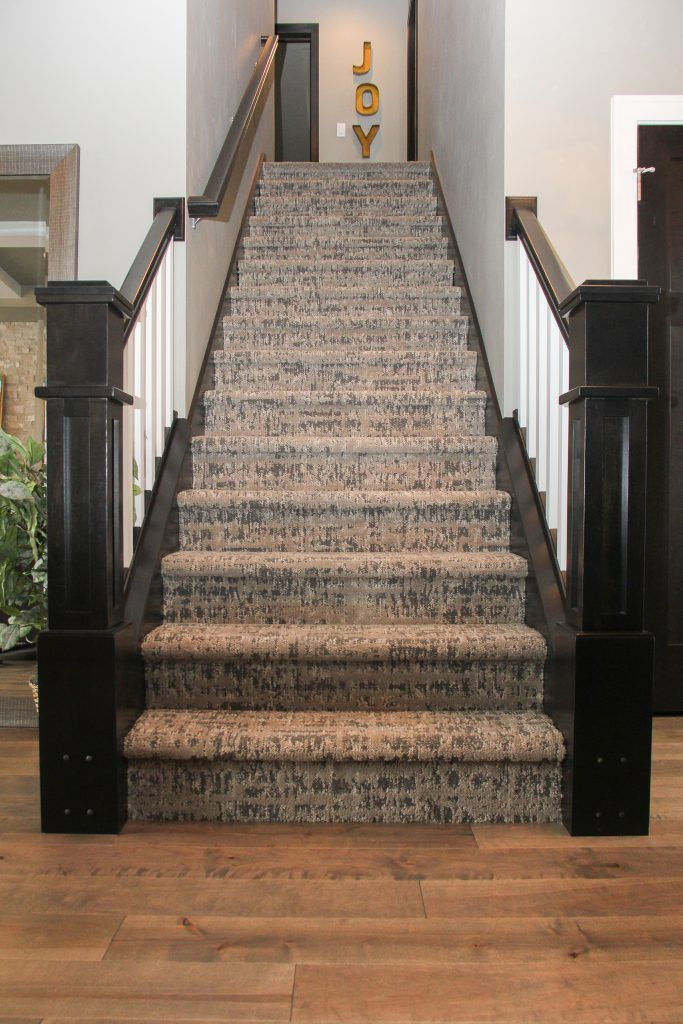 Maple Hardwood Flooring And Brown Patterned Staircase Carpet | Textured Carpet On Stairs | Floral | Wide Stripe | Short Cut Pile | Stylish | Brown
