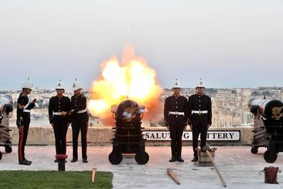 Saluting battery is Valletta's ancient ceremonial platform from where gun salutes are still fired regularly.