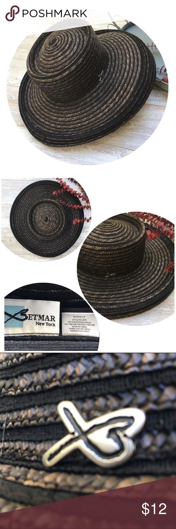Betmar New York Straw Hat, Lamp Shade(small stain) Straw Sun Hat, fits head measurements from 22 to 23 inches, 50% Straw/50% Viscose, Brim: 3 1/2 inches + 1 1/4inch edge..Crown: 3 1/2 inches, See pic small stain inside band Betmar New York Accessories Hats