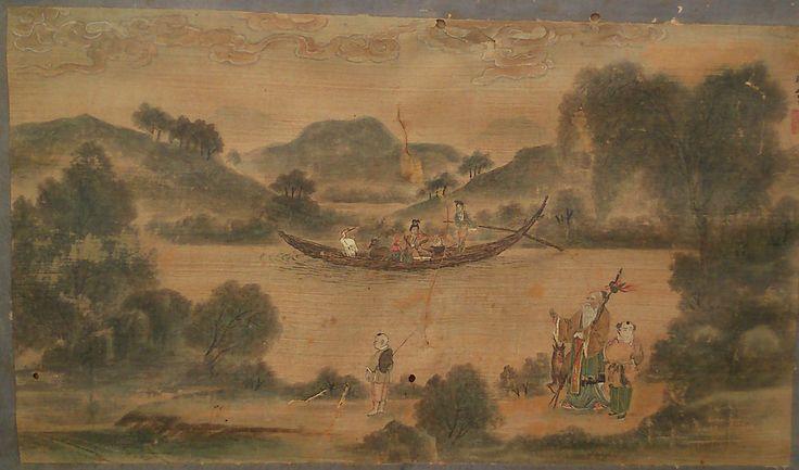 Rare peinture sur soie Chinoise XVIIIe XIXe siècle a restaurer signature  50x30
