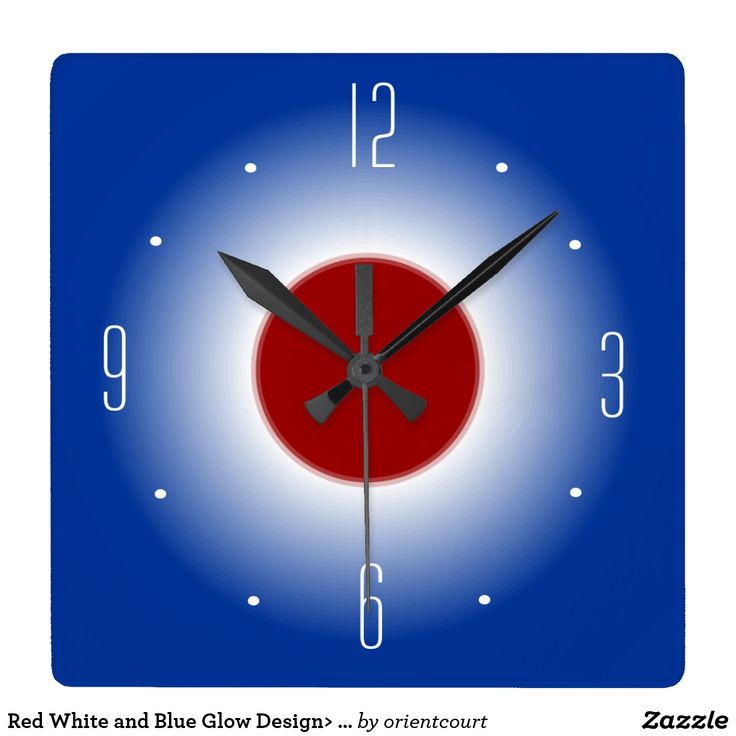 Red White and Blue Glow Design> Wall Clock