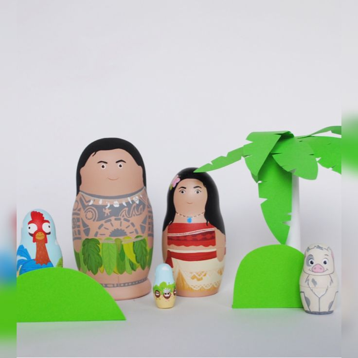 MOANA set of 5 wooden nesting dolls. Моана. Мауи. Подарок. Игрушки из дерева. Maui. Pui. Kids. Wooden toys. Matryoshka.