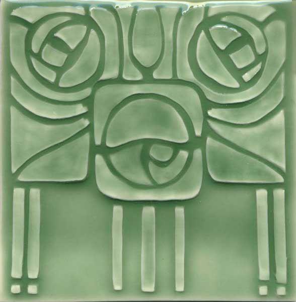 """Tile V101C - Reproduction Art Nouveau Tile  - porteous nz - Tiles are aprox. 150mm x 150mm (6"""" x 6"""") or 150mm x 75mm (6"""" x 3"""")."""