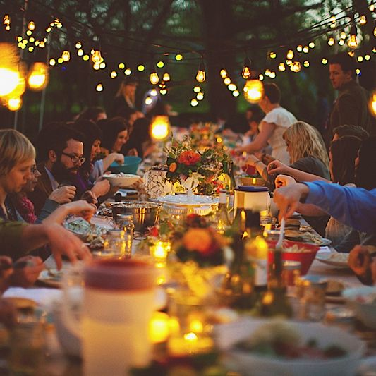"""The dinner parties I've loved most have barely been about the food. It's ALWAYS about the people and the atmosphere in the room - candles, a good number of people for talking, etc."""