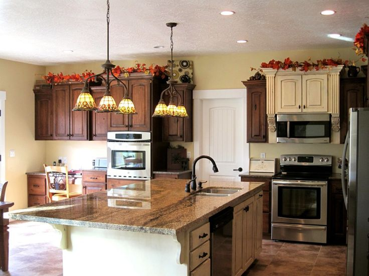 Kitchen:Awesome Kitchen Remodeling Design Ideas With Granite Countertop Kitchen Islands Feat Sink Faucets And Pendant Lamps Ideas Also Wooden Kitchen Cabinets And Shelving Design Ideas Feat Ornament Decorations Minimalist Kitchen Remodeling Ideas with Big Brown Wooden Cabinets and Shelves