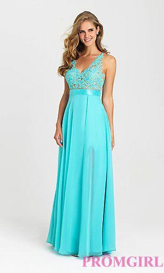 Long Open Back V-Neck Madison James Prom Dress at PromGirl ...