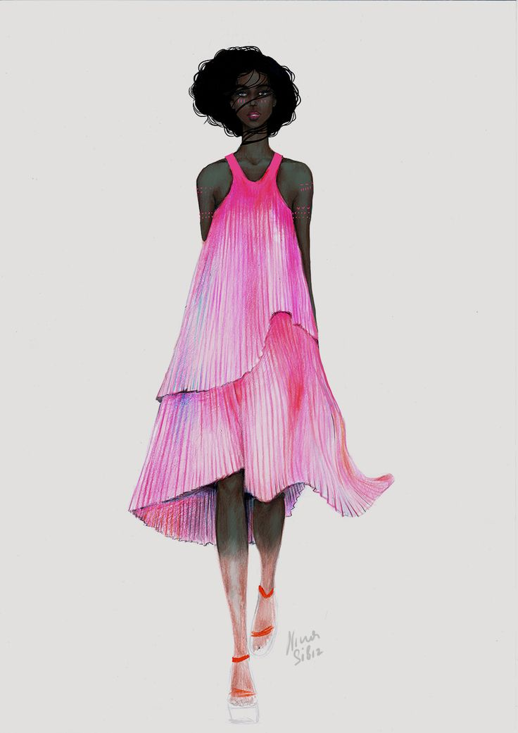 """Africa"" illustration by Nina Sibiratkina .Color pencils.  Pink Dress by Stella McCartney Spring 2016 Ready-to-Wear Fashion  #blackmodel"