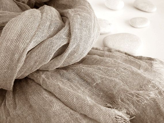 Large natural linen scarf for men or women/ accessories / unisex/ gift/ natural linen color/ organic