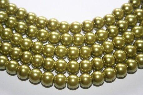 Perline Vetro Verde Chiaro Sfera 8mm - Filo 52pz