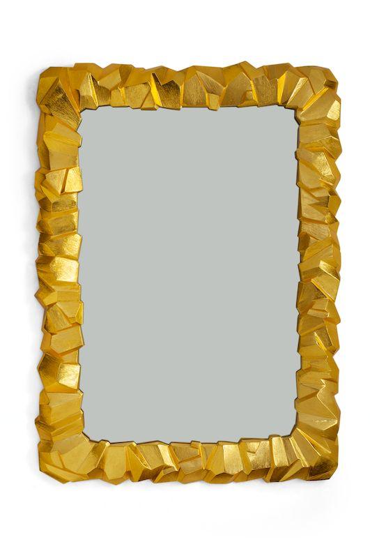 "TOP PICK by Kati Curtis www.katicurtisdesign.com Michael Aram Rock Mirror Goldtone ITEM # 411650 24""W x 33.5""L; Goldtone Aluminum, Mirror; Oversize MSRP: $1,675.00 #HPmkt"