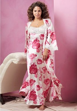 Plus Size Long Satin Peignoir Set by Amoureuse | Plus Size Robes & Slippers | Roamans
