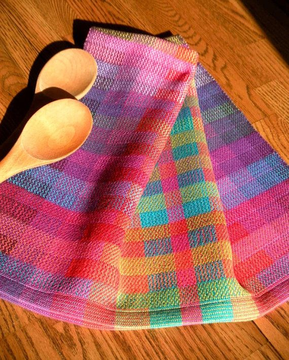 Hand Woven Tea Towel Handwoven Gourmet Towel By ThistleRoseWeaving