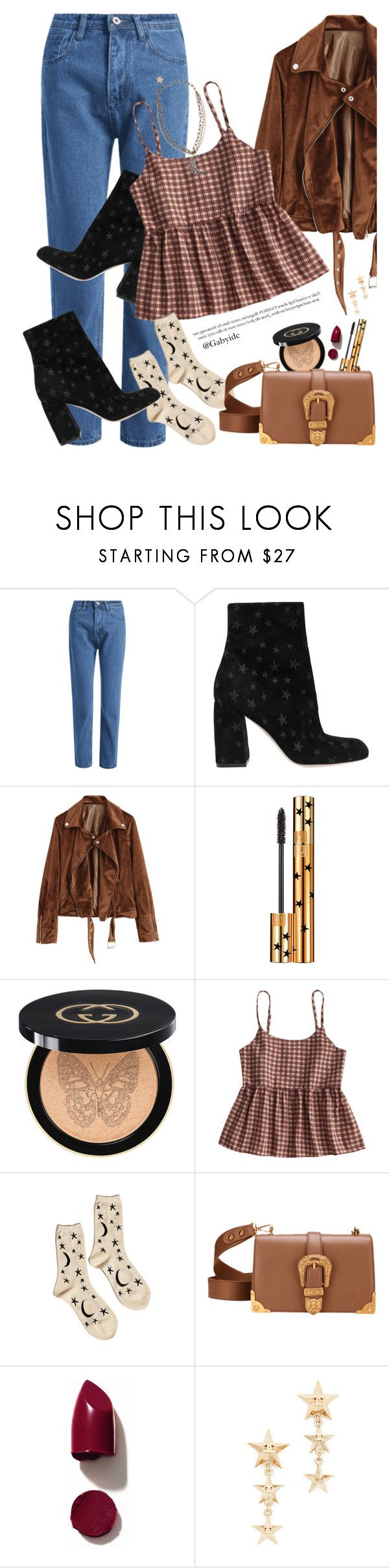 """"" by gabyidc ❤ liked on Polyvore featuring RED Valentino, Yves Saint Laurent, Gucci, Hansel from Basel, NARS Cosmetics and Lanvin"
