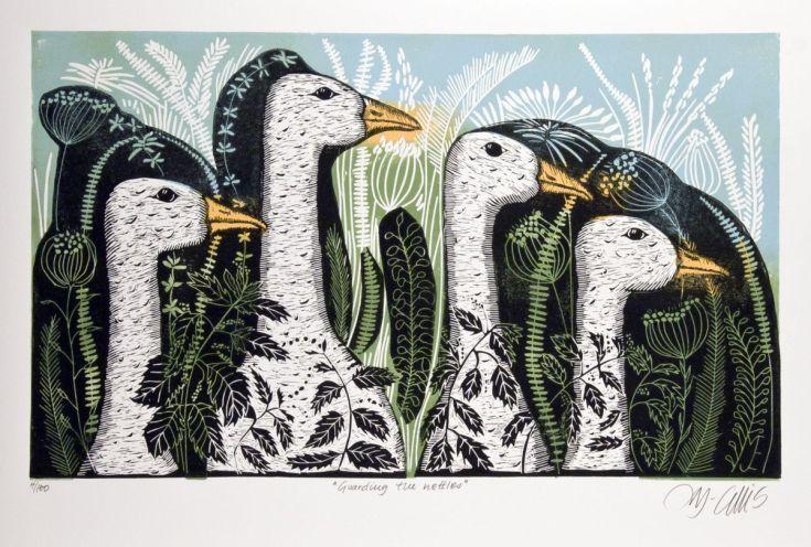 Buy Guarding the Nettles, 2 plate linocut, Linocut by Mariann Johansen-Ellis on…