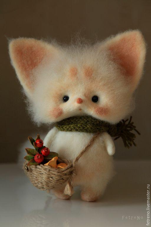 Купить Северный Лисёнок с ягодами и грибами. Игрушка из войлока. - разноцветный, лисенок, игрушка лисенок