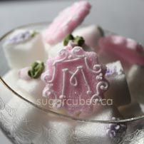 Fancy pink monogrammmed sugars for a feminine tea--shower for baby or wedding.  I just love this lady's work.