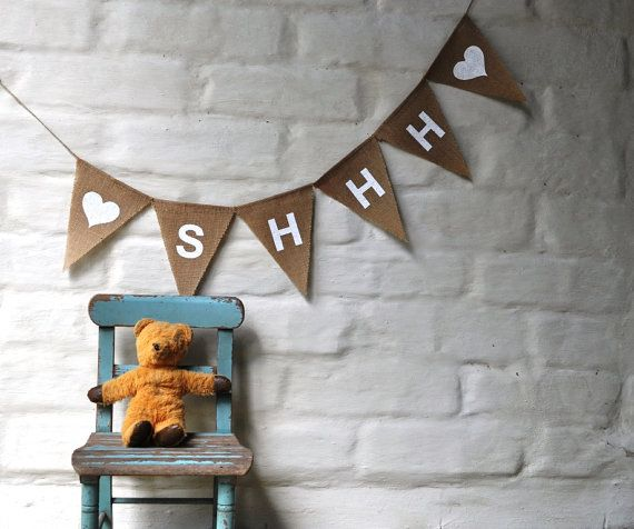 SHHH Hessian Nursery Baby Children Celebration Party Banner Bunting Decoration.